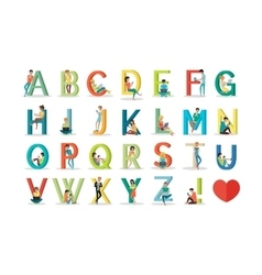 English Alphabet with Humans Use Modern Technology vector image vector image