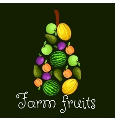 Farm fruits flat icons in shape of pear emblem vector