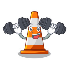 Fitness traffic cone on road cartoon shape vector