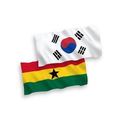 Flags south korea and ghana on a white vector