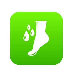 Foot care icon green vector