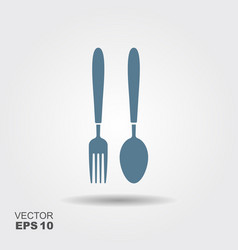 fork and spoon icon in flat design vector image