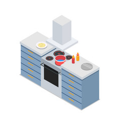 four-burners cooker isolated at restaurant kitchen vector image