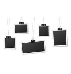 frames hang on clips photo frame hanging photos vector image