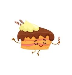 Funny sponge cake character with chocolate cream vector image
