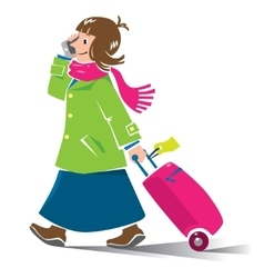 Funny woman air passenger with suitcase and phone vector