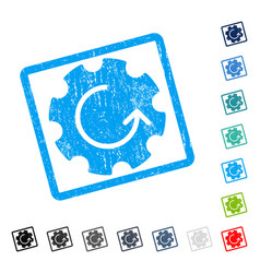 Gear rotation icon rubber watermark vector