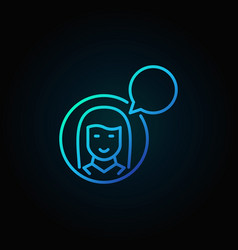 girl with speech bubble blue icon vector image