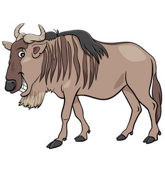 Gnu antelope or blue wildebeest cartoon animal vector