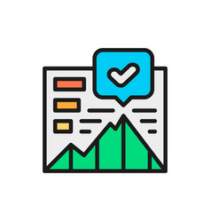 growth chart presentation flat color icon vector image