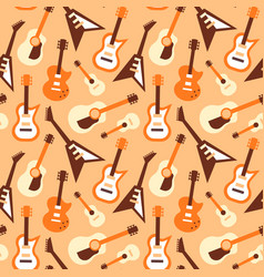 guitar seamless pattern retro music instrument vector image