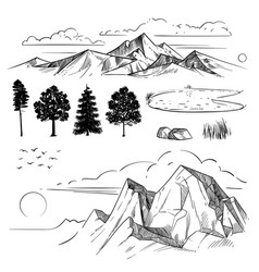 hand drawing mountain range peaks clouds sun and vector image
