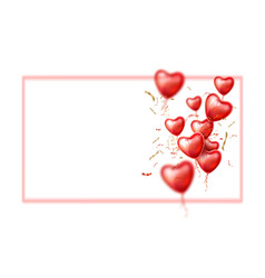 heart balloon silk ribbon realistic set vector image