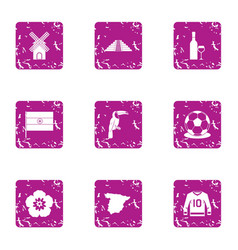 Hilltop icons set grunge style vector