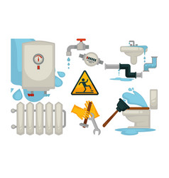 house plumbing plumber repair tools and water vector image