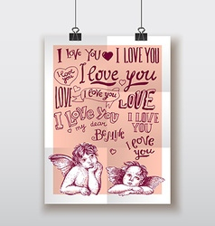 I love you hand drawn lettering poster with little vector