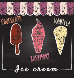 Ice cream set chalk on backboard popsicles and vector