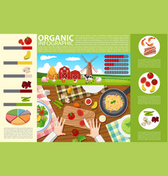 Infographic design with food and organic farm vector