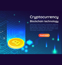 Isometric web banner bitcoin on circuit board vector