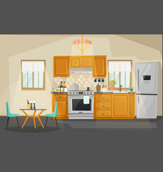 kitchen interior view fridge and oven utensil vector image