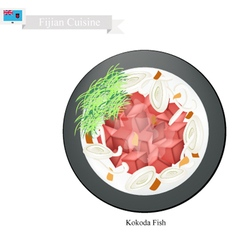 Kokoda Fish or Fijian Raw Fish in Coconut Milk vector