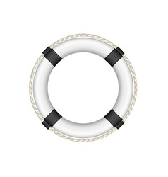 Life buoy in white and black design with rope vector