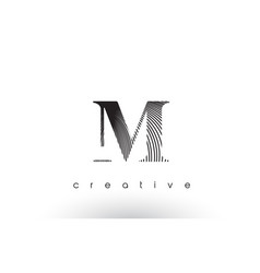 M logo design with multiple lines and black and vector