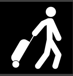 Man with suitcase white color icon vector
