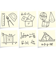 Mathematics and geometry icons and formulas on yel vector image