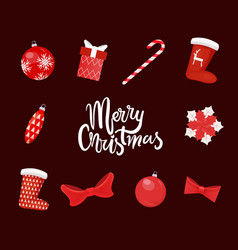 merry christmas red greeting paper card vector image