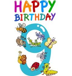 Ninth birthday anniversary card vector