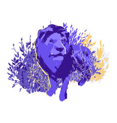 One abstract male lion standing among bushes vector