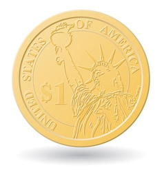 one dollar coin vector image