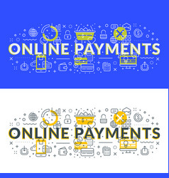 online payments flat line concept for web banner vector image
