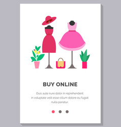 Online shopping people and interact boutique vector