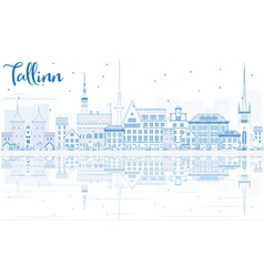 Outline Tallinn Skyline with Blue Buildings vector image