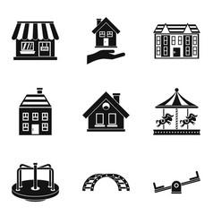 Park improvement icons set simple style vector