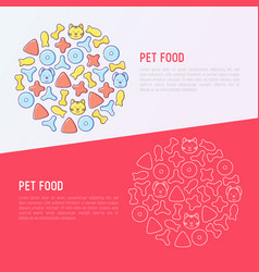 Pet food concept in circle with thin line icons vector