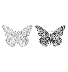 polygonal network mesh butterfly and mosaic icon vector image