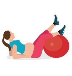 Pregnant woman gym exercise fitness pregnancy ball vector
