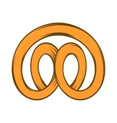 Pretzel icon in cartoon style vector image
