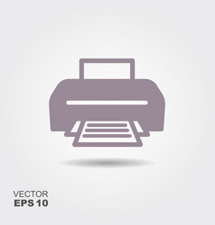 printer icon in flat style isolated on grey vector image