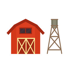 red stable and water cask vector image