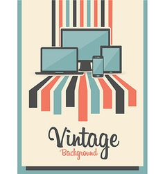 Retro Vintage Background With Electric Devices vector image vector image