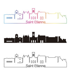 saint etienne skyline linear style with rainbow vector image