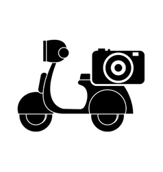 Scooter and camera icon vector