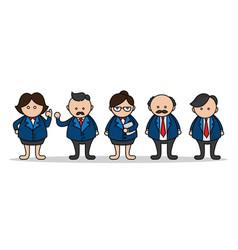 set business man cartoon cute design vector image