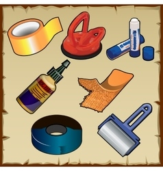 Set of adhesive and materials tools vector