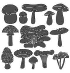 Set of black and white images with mushrooms vector