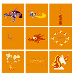 Set of cartoon objects cartoon dragons castle vector